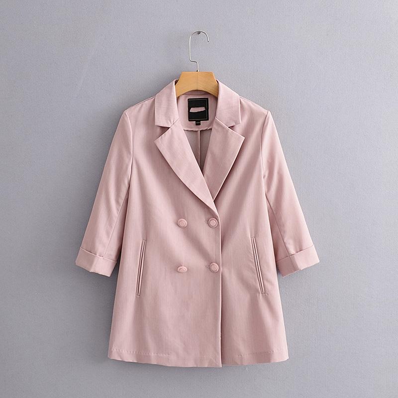 外贸单品秋冬新款 女翻领双排扣宽松七分袖休闲西装外套39099#10