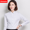 Cotton spring and autumn and winter female long-sleeved white shirt plus warm cashmere V-neck loose overalls career Chia Tai code shirt Women