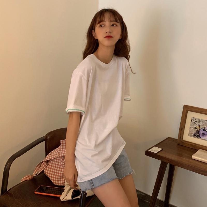 实拍 夏季新款 东大门同款韩风chic简约明线设计短袖t恤