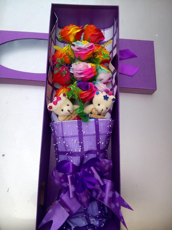11朵七彩色大花头玫瑰香皂花束七夕情人节礼物礼盒送女友老婆表白