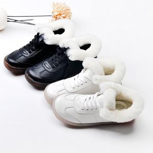 冬季新款加绒小白鞋真皮毛毛棉鞋牛筋软底女鞋子圆头平底布洛克鞋