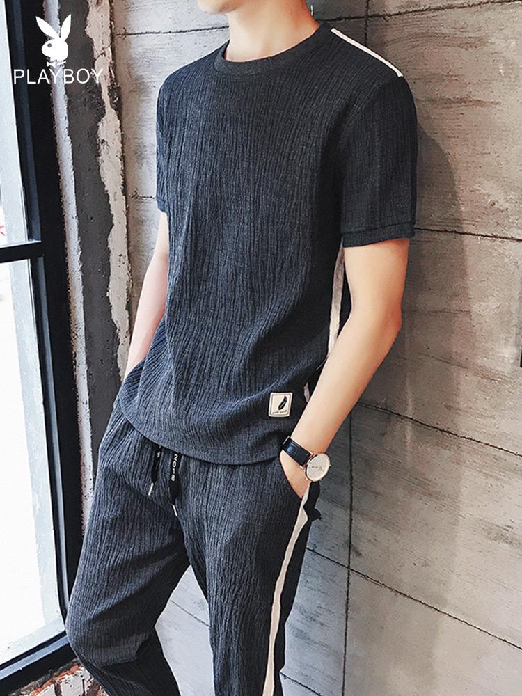 花花公子短袖冰丝t恤男士休闲运动套装夏季潮流宽松亚麻衣服夏装(用15元券)