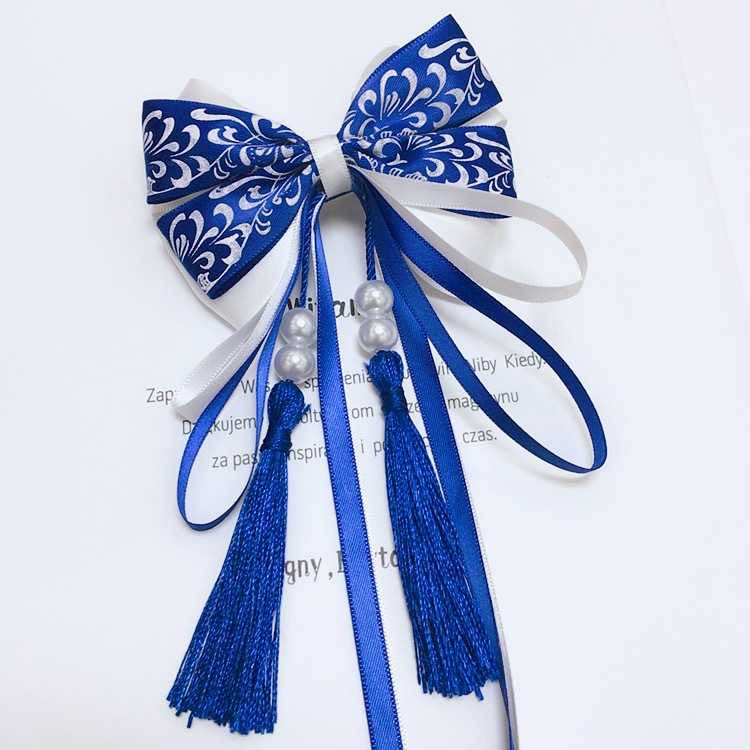 Chinese style blue and white porcelain ancient hairpin cloth double bow ribbon ribbon super immortal tassel headdress Han clothing accessories