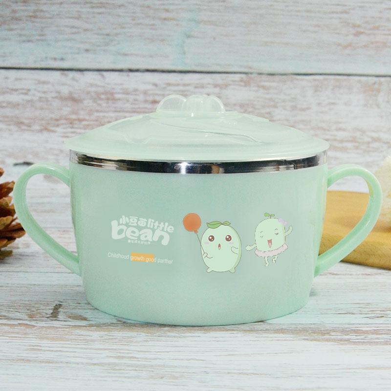 儿童汤碗宝宝304不锈钢碗吃饭碗防摔防烫带盖双耳手柄小学生餐具