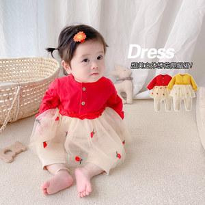 韩版童装女宝宝秋冬装连体衣婴儿满月百日宴哈衣裙甜美礼服外出服