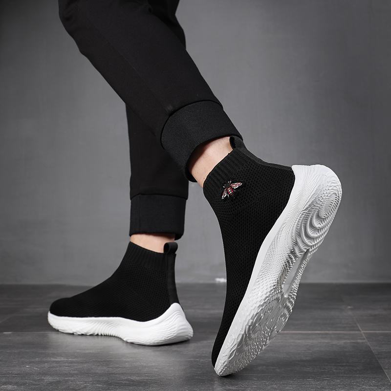 男鞋潮鞋2021新款袜子鞋男中帮透气飞织运动休闲鞋子男套脚网面鞋