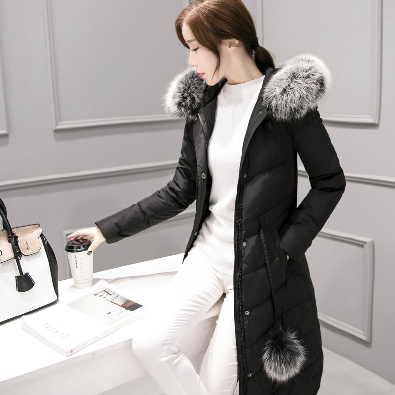 实拍2017韩版中长款羽绒服女白鸭绒修身时尚外套奢华大毛领女装