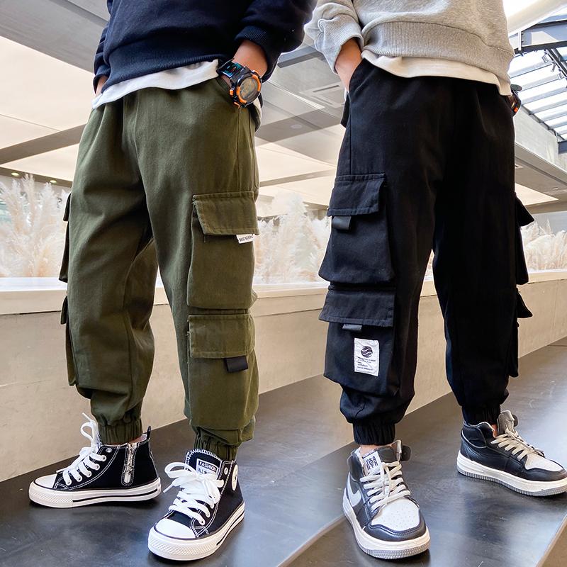男童裤子春秋款季大童秋装2021年新款休闲儿童工装潮帅气时髦长裤