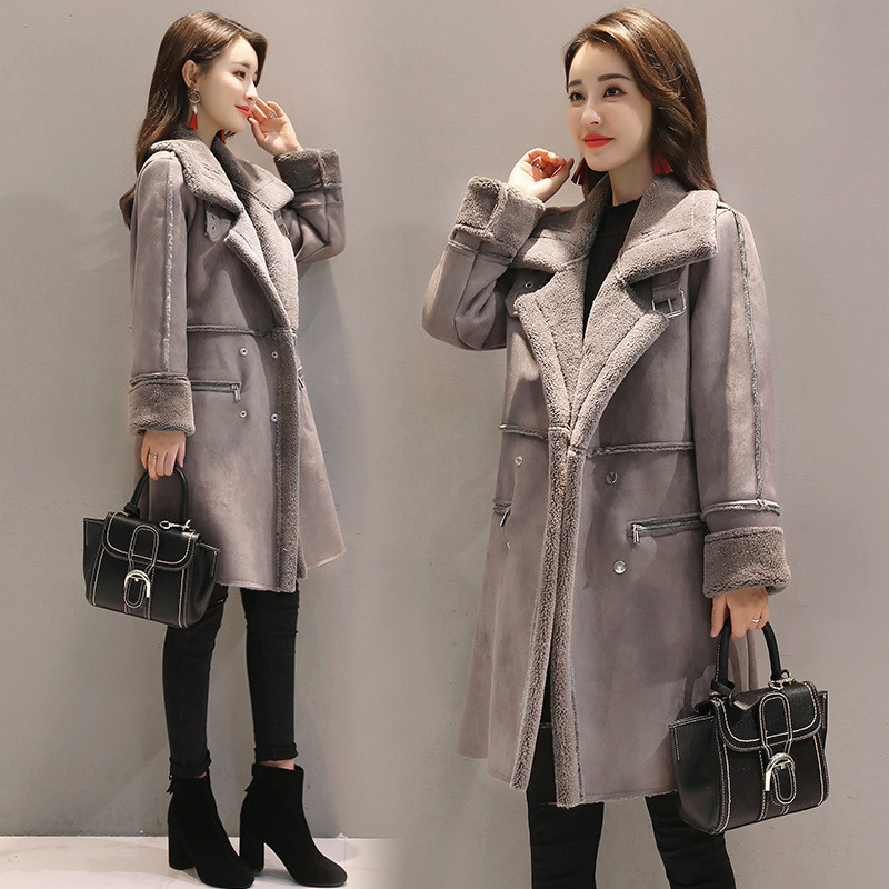 Womens clothing 20 autumn and winter womens thickened warm medium and large size cashmere lamb coat suede cotton coat