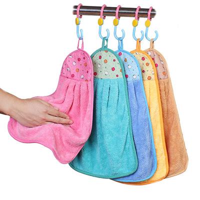 【3条装】可挂式擦手巾珊瑚绒毛巾手帕吸水性强颜色随机搭配
