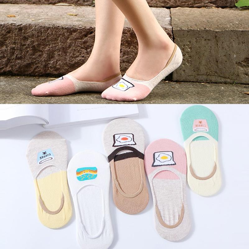 5双日系隐形袜女袜子短袜纯棉夏季薄款防滑硅胶单鞋浅口吸汗防臭