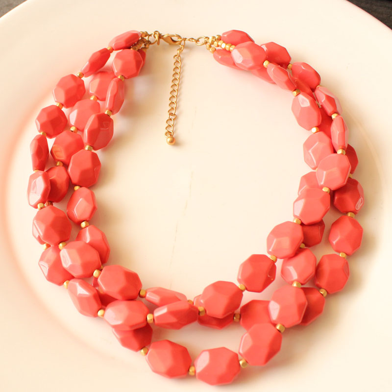 New resin beads string multi-layer Necklace womens short collarbone chain fashion exaggeration dress accessories summer