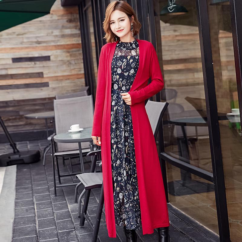 2020 Korean spring new solid color sweater women's coat medium length slim knit cardigan Cape