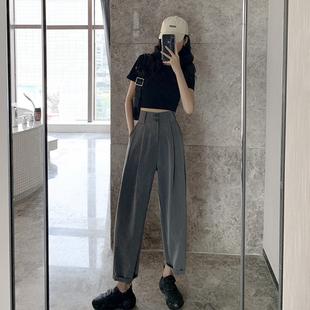 灰色哈伦裤女夏季薄款阔腿宽松高腰显瘦西装百搭萝卜裤子2020新款