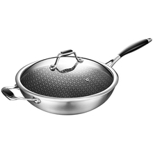 Stainless steel non-stick wok no oil smoke no coating pot induction cooker gas for household multifunctional cooking pot