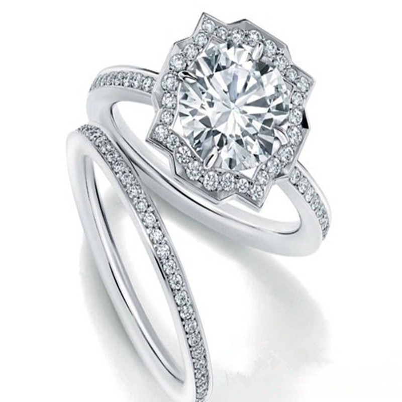 18K White Gold Mossan diamond ring 2 carat Engagement Wedding Ring female Ring Set Wedding Jewelry