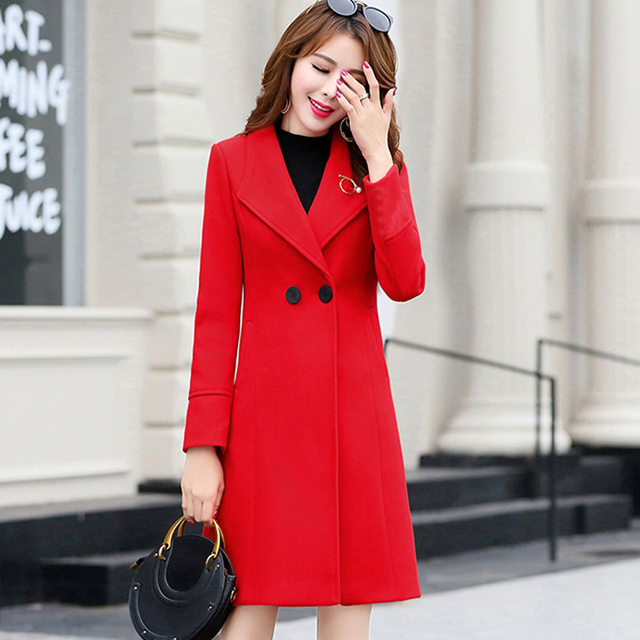 2 [special clearance] womens middle and long style autumn and winter Korean version of fashionable and slim Nizi woolen coat