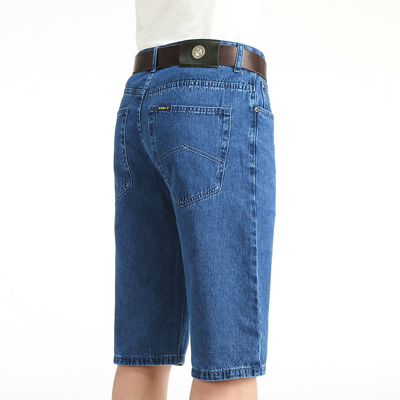 Summer cotton thin Apple denim shorts mens middle-aged high waist pants middle-aged and elderly Capris loose size