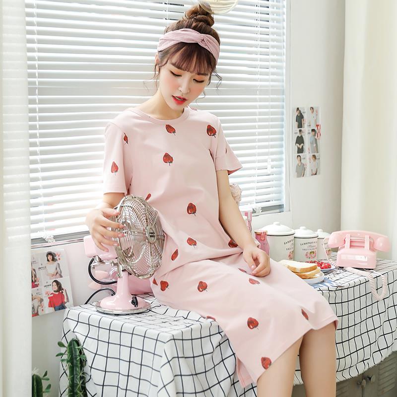 女士纯棉夏裙中长款短袖睡裙连衣裙58.00元包邮