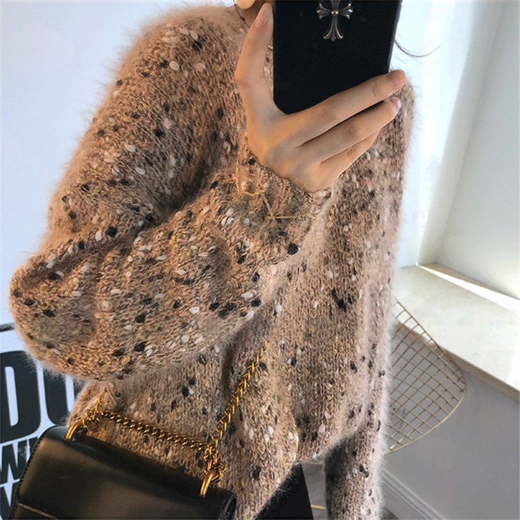 Bright silk sweater womens autumn and winter flash silk mesh Pullover loose and versatile Korean mohair sweater