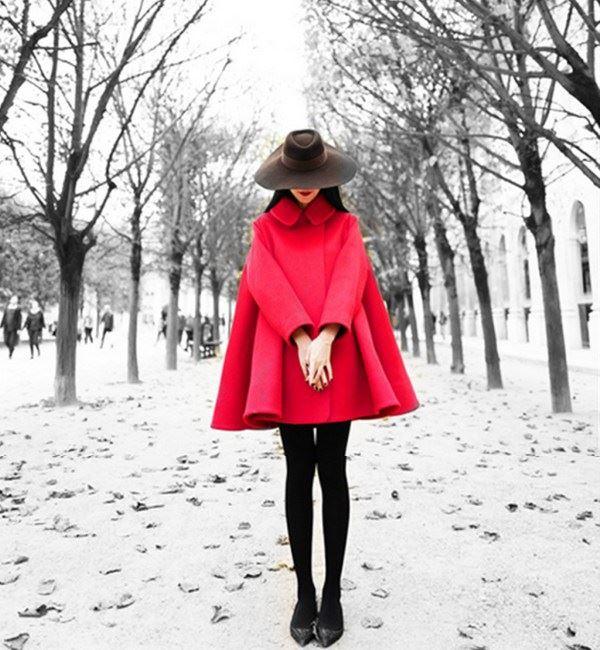 Retro Republic of China style woolen coat woolen womens coat medium length 2020 new Korean red cape wool