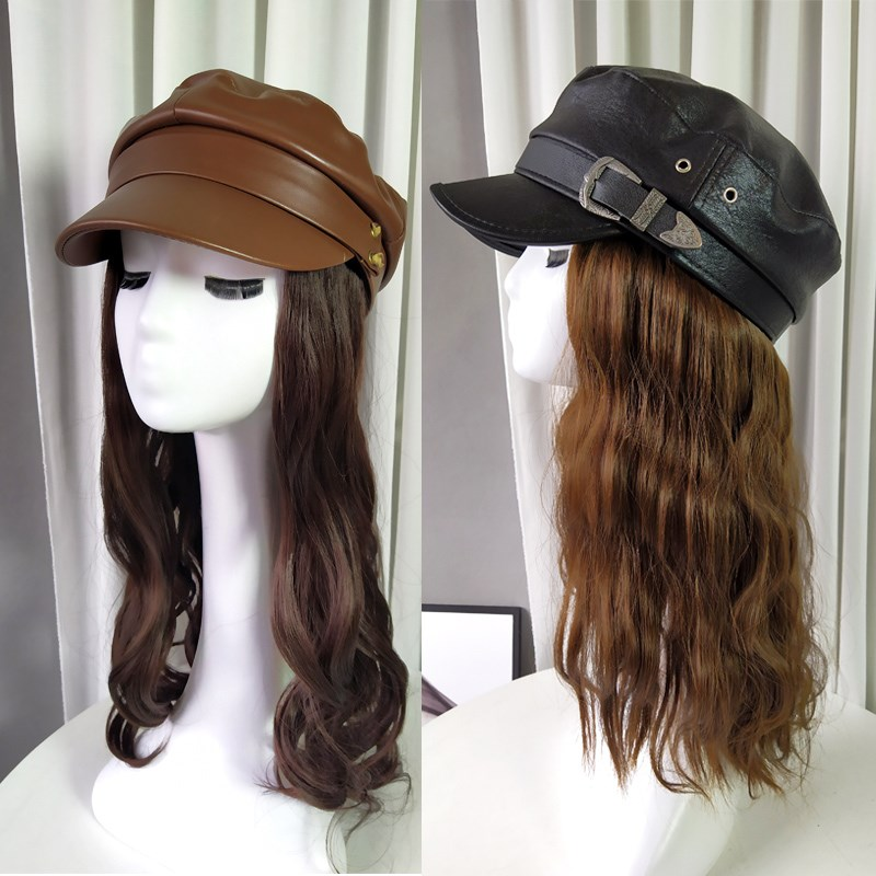 Beret with wig hat integrated long curly hair fashion women long hair hat trend detachable autumn and winter wool roll