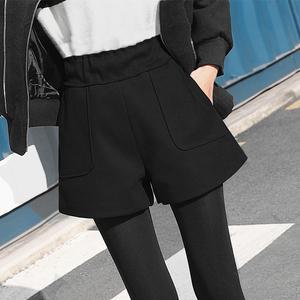 毛呢短裤女秋冬季2020新款宽松高腰阔腿a字打底靴裤冬款外穿秋款