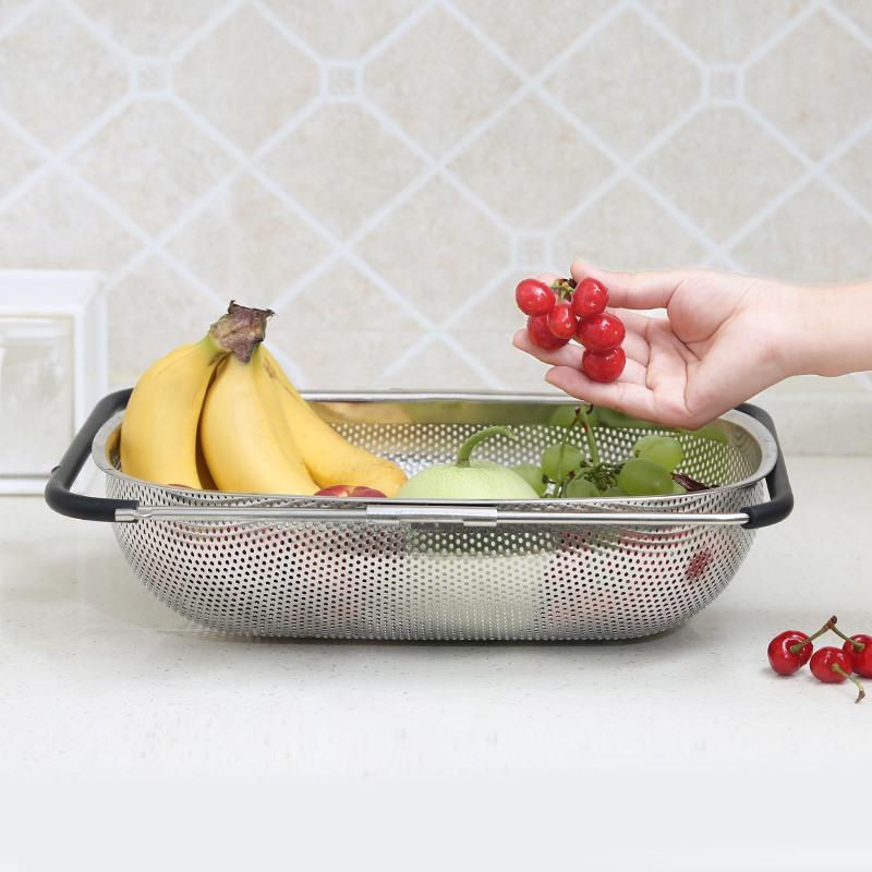 日本进口多功能厨房水槽沥水架可伸缩式沥水篮不锈钢洗菜盆家用网