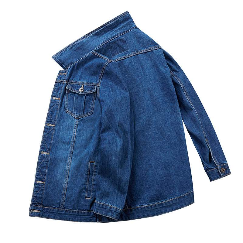 Authentic spring and autumn oversized mens loose fitting denim jacket plus extra large jacket extra large fat casual top