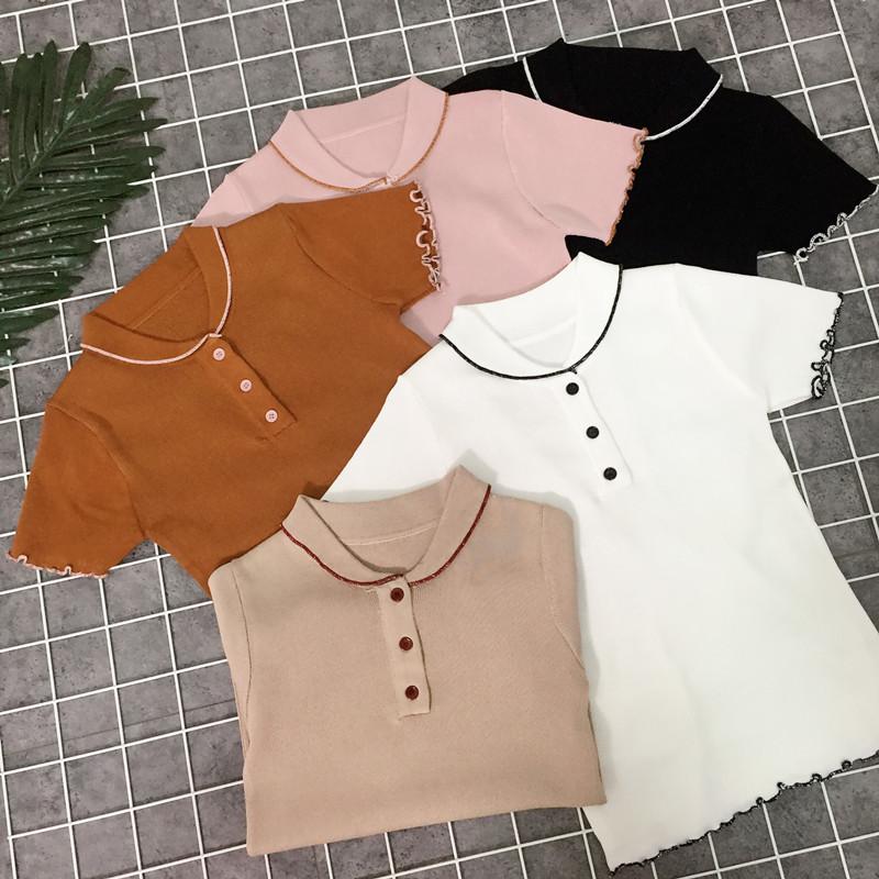 夏装2018新款韩版元宝领针织衫女木耳边短袖上衣修身显瘦打底衫潮