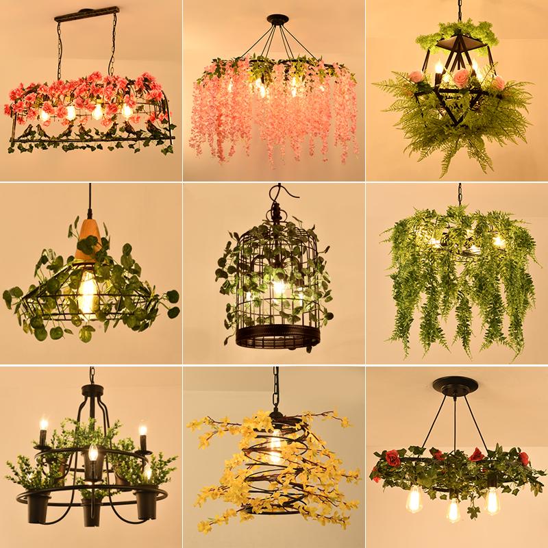 酒吧台植物樱花灯奶茶店餐厅装饰吊灯复古个姓工业风音乐创意灯具