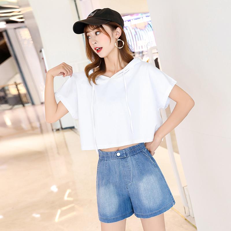 2021 new half sleeve Hoodie wearing hat short short sleeve sweater womens Korean pure cotton thin summer dew navel loose