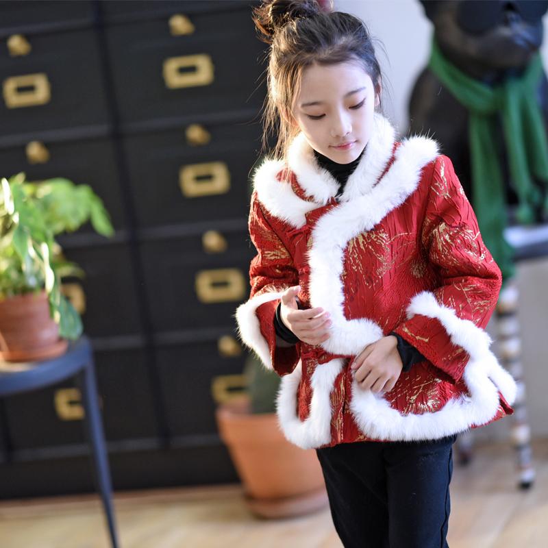 小资妞 女童 秋冬款年装拜年红红火火短款娃娃摆唐装