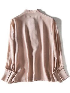 2019年秋獨立設計感小眾法式包扣荷葉邊領chic女裝桑蠶絲真絲襯衫