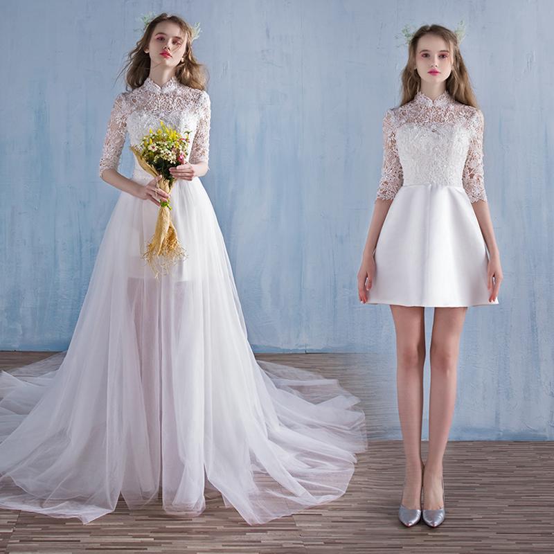 欧泊蕾2018新款婚纱礼服复古森系立领长拖尾短款两穿新娘轻婚纱女