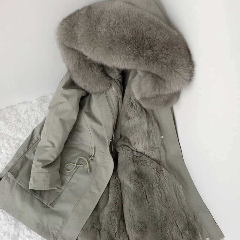 2020 new winter fox fur collar fur pie overcoming women's mid-length rex rabbit fur liner detachable coat