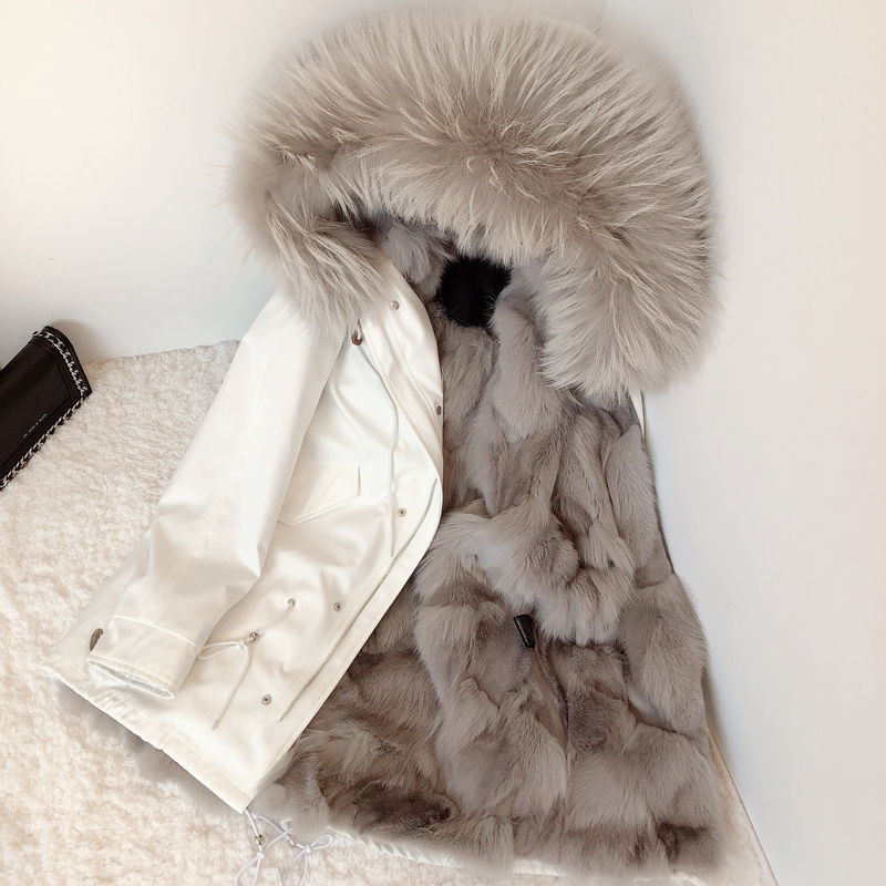 2020 new winter fox fur liner coat female raccoon fur collar fur pie overcoming mid-length detachable coat
