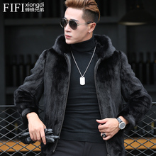 A trendy mink coat with a man's hat and mink Haining fur mink fur fur fur fur winter coat