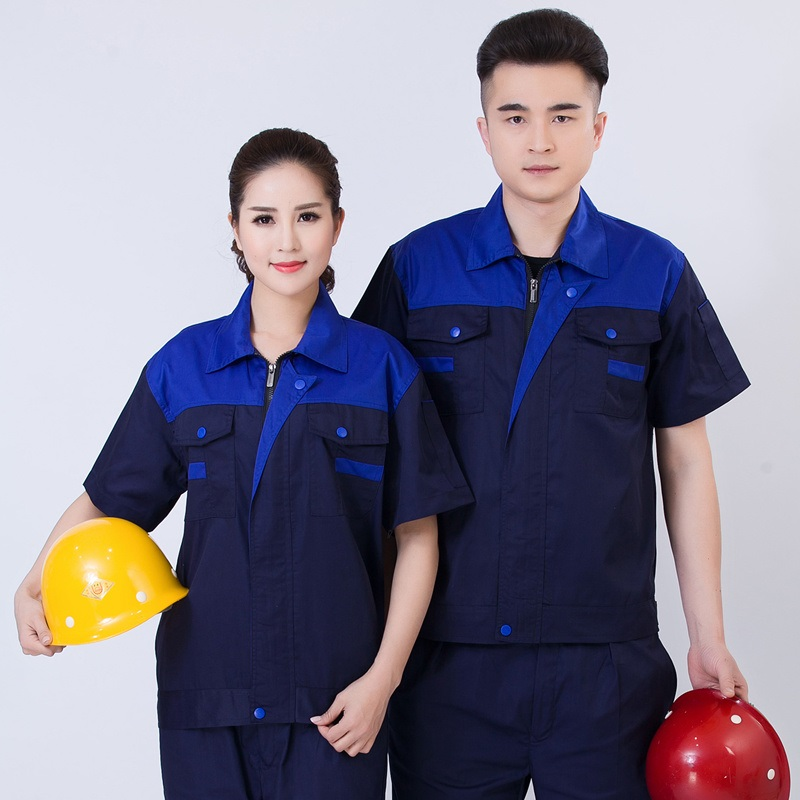 Summer labor protection suit electrician clothing hotel engineering department work uniform property short sleeve mechanic men and women.