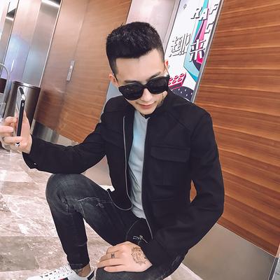 1326-P108 秋季麂皮绒多口袋修身短款男青年立领夹克外套 黑