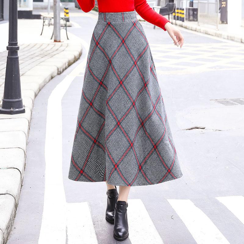 Autumn and winter warm Plaid tweed skirt with large A-shaped skirt pocket slim elastic skirt elegant skirt