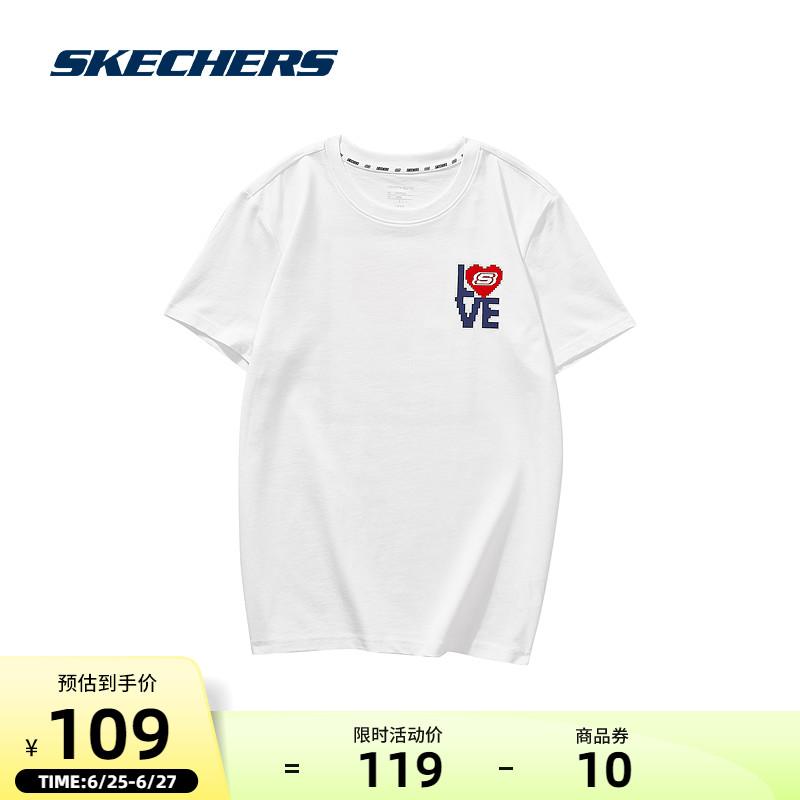 Skechers斯凯奇利路修同款夏季情侣LOVE男士体恤运动短袖T恤女潮