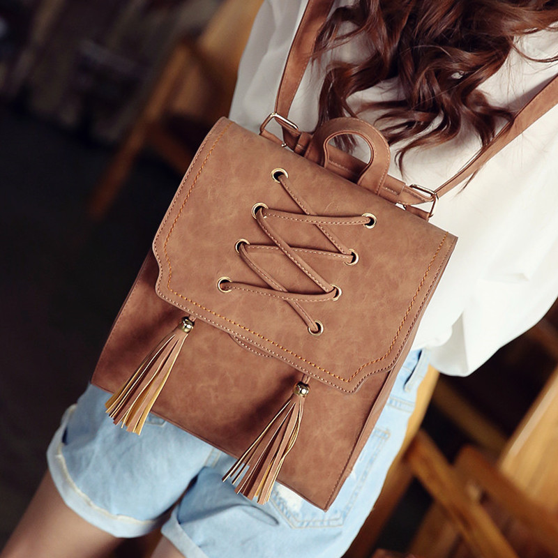 Daily special price fashion backpack womens Korean version retro tassel womens backpack literature and art versatile trend college style schoolbag