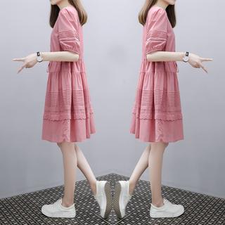 欧洲站2020年夏季新款女装时尚宽松中长款法式气质a字连衣裙子潮