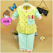 Spring and Autumn Female Baby Thin Long Sleeve Suit 0-1-2 Years Old wear 100 sets of 3-6-9 Kids cardigan trousers