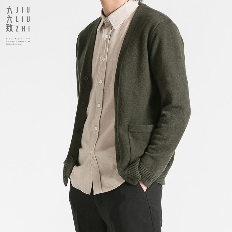 九六致春季宽松休闲针织衫开衫男士毛衣外套外穿大码韩版潮流线衣