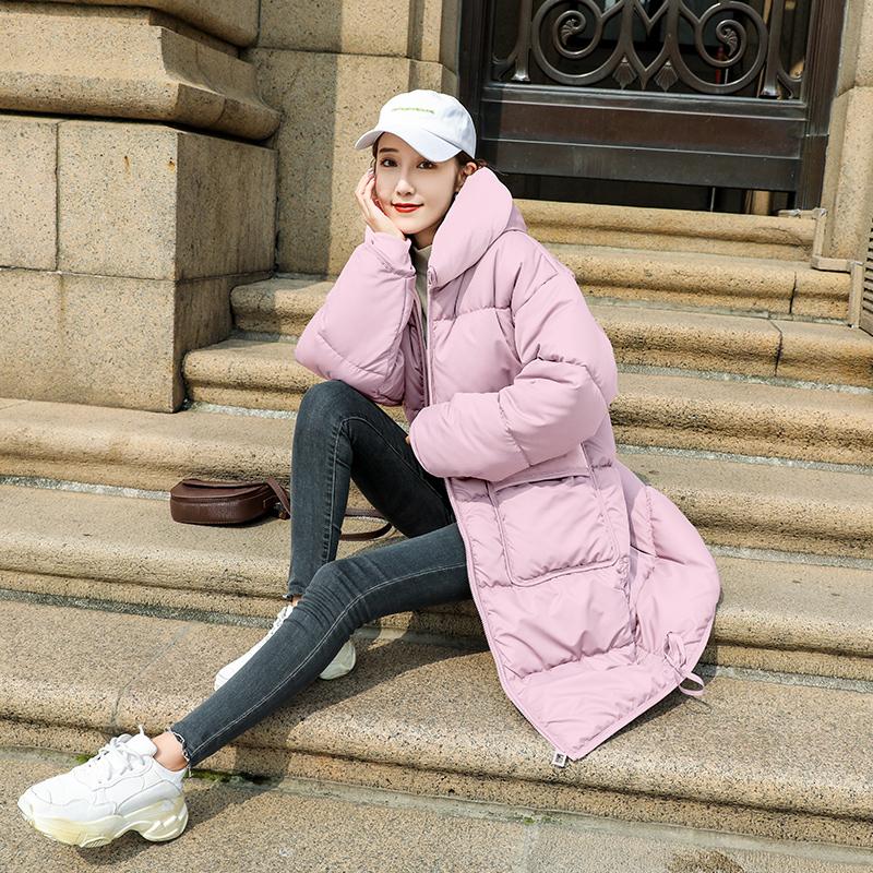 羽绒棉服女加厚加绒棉袄2019年新款潮连帽长款过膝保暖冬棉衣外套