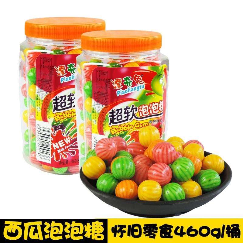 Chewing gum in large bottles and barrels, watermelon bubble gum in 1980s and 1990s, nostalgic snacks as a child