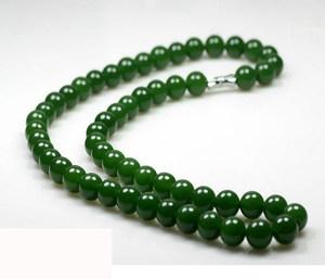 和田玉碧玉圆珠项链老坑菠菜绿10mm链子女款玉石项链坠