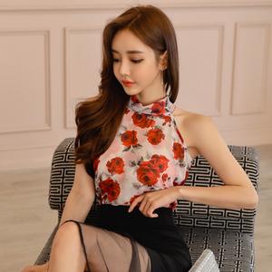 夏装2018新款女印花韩版气质雪纺衫
